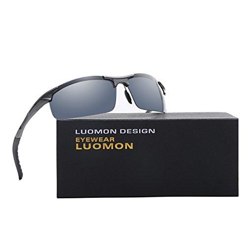 LUOMON LM8177 Grey Frame/Grey Lens Polarized Wrap-Around Sport - Around Sport Wrap Sunglasses