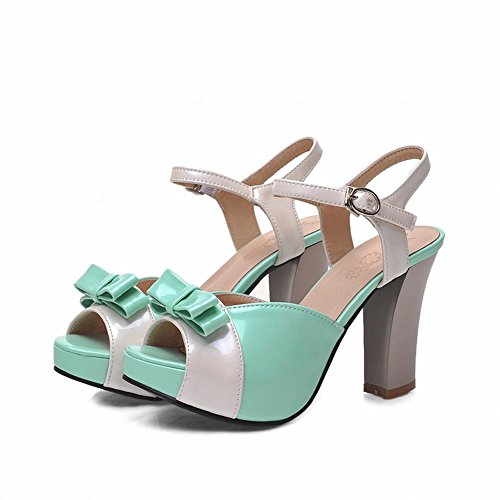 Carol Shoes Buckle Womens Sweet Candy Color Simpatici Archi Assortiti Colori Lolita Platform Alti Sandali Con Tacco Grosso Verde