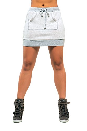 Poetic Justice Women's Curvy Fit Grey French Terry Kangaroo Pocket Mini Skirt Size Medium - Designer Mini Skirt