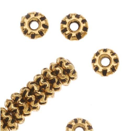 22K Gold Plated Pewter Teke Spacer Beads 4mm (50) (Spacer Teke)