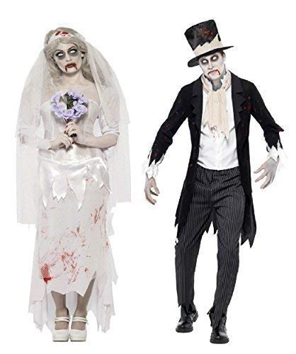 Mens Ladies Couples Fancy Dress Zombie Ghost Corpse Bride & Groom Halloween Costumes Outfits (Ladies UK 12-14 & Mens Large) Black