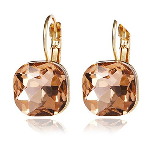 Fashion Gold Color Square Stud Earrings Pink Red Green Black Austrian Crystal Rhinestone Earring,Xiangbinse ()