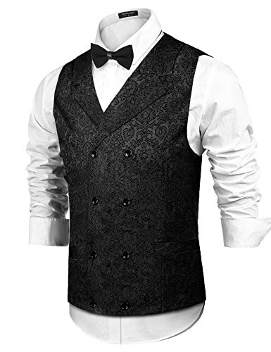 (COOFANDY Mens Victorian Vest Steampunk Double Breasted Suit Vest Slim Fit Brocade Paisley Floral Waistcoat Black )