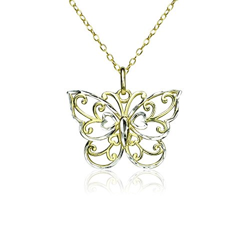 - Yellow Gold Flashed Sterling Silver Two-Tone Diamond-cut Filigree Butterfly Pendant Necklace