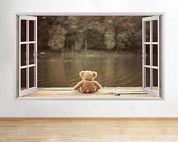Teddy Bear Lake Kinderzimmer Niedliche Mädchen Schlafzimmer Fenster Wand  Aufkleber 3D Kunst Aufkleber Kinder Schlafzimmer Kinderzimmer