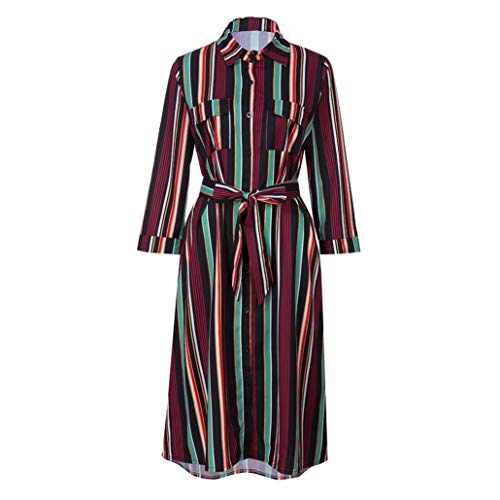 iYYVV Women Long Sleeve Striped Multicolor Loose Button Boho Beach Dress with Belt