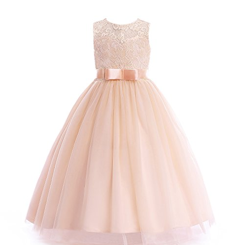 Glamulice Girls Lace Bridesmaid Dress Long A Line Wedding Pageant Dresses Tulle Party Gown Age 3-16Y (5-6Y, O-Champagne) -