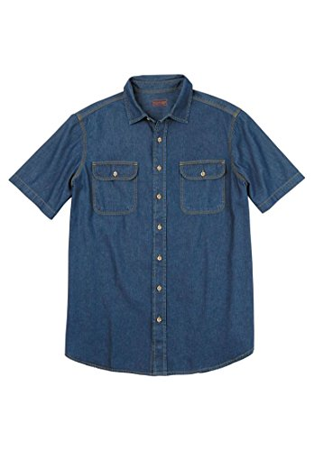 Short Sleeves Shirt Stonewash Denim - Boulder Creek Men's Big & Tall Short-Sleeve Denim Shirt, Stonewash Denim