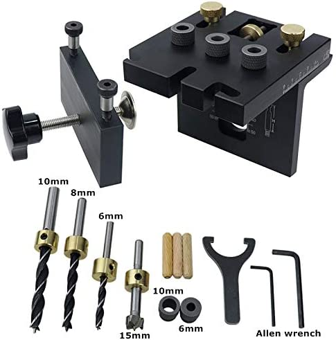 Riiai Pocket Hole Jig Kit Tool, 3 in 1 Woodworking Doweling Holes Jig Kit with Positioning Clip Adjustable Drilling Guide Puncher Locator Carpentry Tools with Clear Scale