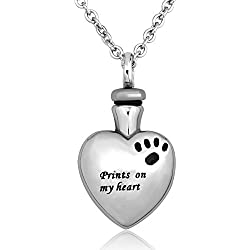 CharmSStory Pet Urn Necklace Dog/Cat Paw Prints On My Heart Cremation Keepsake Memorial Necklace Ash Holder