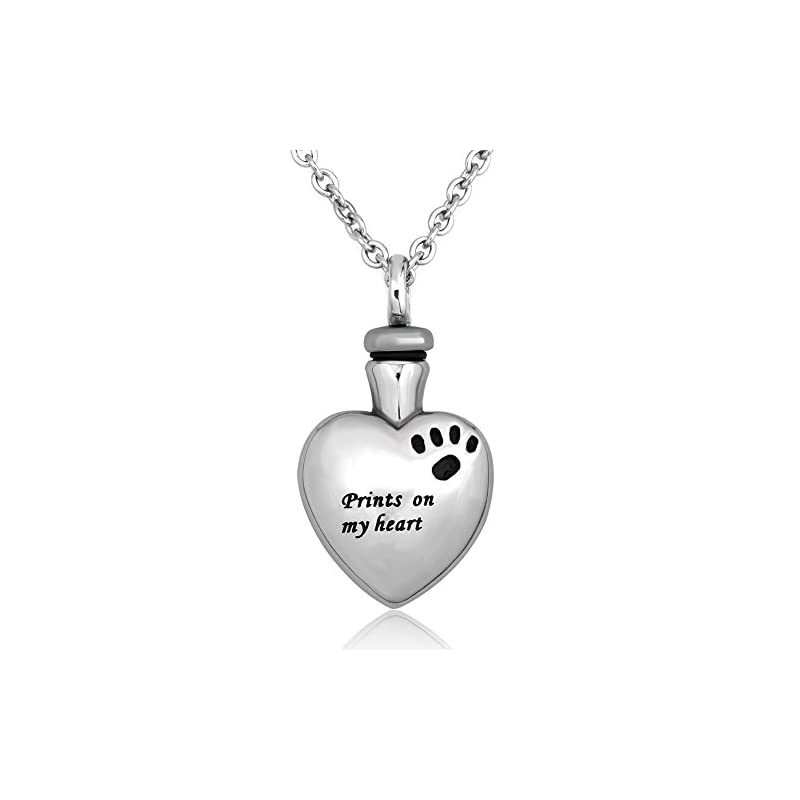 dog supplies online luckyjewelry pet memorial urn necklace dog cat paw on my heart cremation ashes necklaces