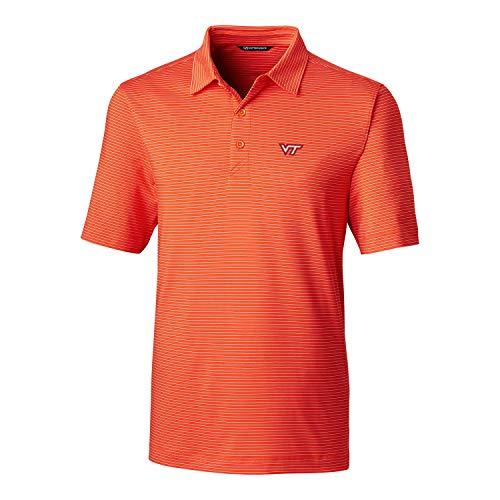Cutter & Buck NCAA Virginia Tech Hokies Men's Short Sleeve Pencil Stripe Forge Polo, College Orange, XL
