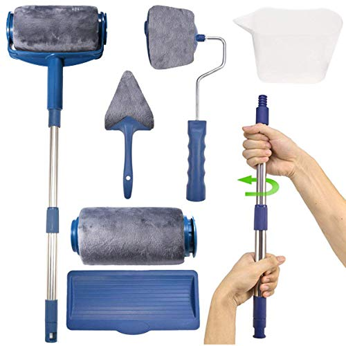 7 PC Paint Roller Brush Kit,GPSGO Paint Runner Pro Professional Roller, Smart Paint Roller Applicator / 2 Paint Pro Brush/Telescopic Poles/Flocked Edger and Corner Brush for Home Office Ceiling or ()