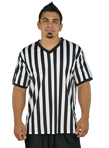 Mens Referee Shirts | V-Neck Style | Perfect Ref Shirt for Officials, Bars, More - Black/White CA2025V -