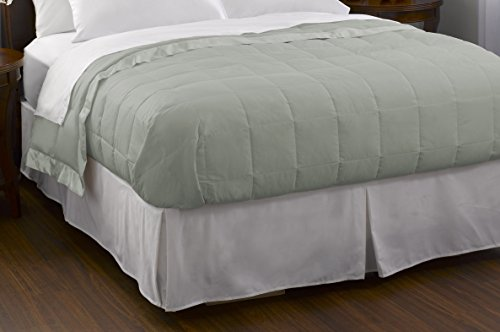 Pacific Coast Feather Company 67819 Down Blanket, Cotton Cover with Satin Border, Hypoallergenic, King, Clover