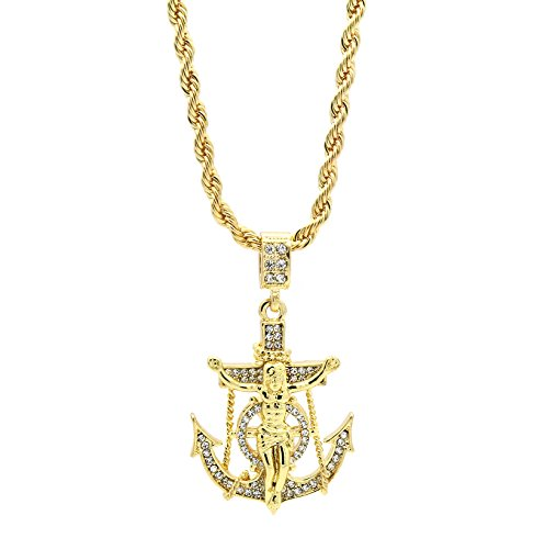 Mens Hip Hop 14k Gold Plated Jesus Anchor Hook Pendant 24