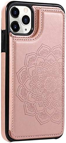 yiyiter Kompatibel mit iPhone 11 Pro Max Hülle Leder Brieftasche Kartenfächer Ständer Case für i 11 Pro Max