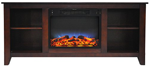 Brown Mahogany Electric Fireplace (Cambridge CAM6022-1MAHLED Savona 59 In. Electric Fireplace in Mahogany with Entertainment Stand and Multi-Color LED Flame Display)