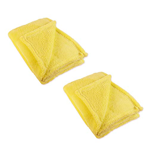 J&M Home Fashions Bright Fleece Throw Blanket 50x60, Set of 2, Reversible Fuzz Soft Warm Breathable Fluffy for Bed, Chair, Couch, Picnic, Camping, Beach, Travel-Yellow