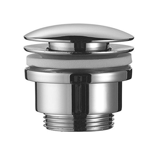 Design Ablaufgarnitur mit Push Up Funktion in chrom fü r den Waschtisch Bürstenking