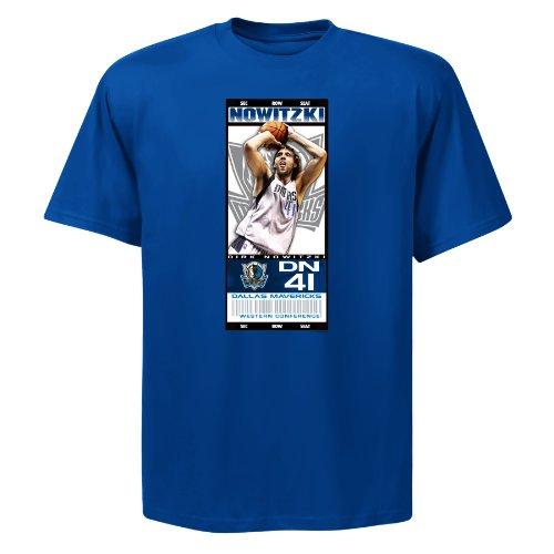 Mavericks Tickets - NBA Mens Dallas Mavericks Dirk Nowitzki Hot Ticket Deep Royal Short Sleeve Basic Tee By Majestic (Deep Royal, X-Large)