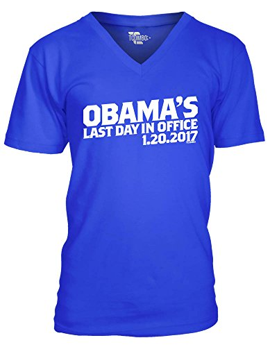 Tcombo Obama's Last Day In Office Men's V -neck T-Shirt Tee (XL, Royal ()