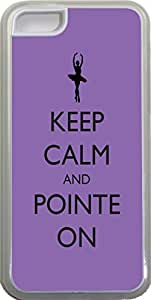 Rikki KnightTM Keep Calm and Pointe On Purple Ballet Design Design iPhone 5c Case Cover (Clear Rubber with bumper protection) for Apple iPhone 5c