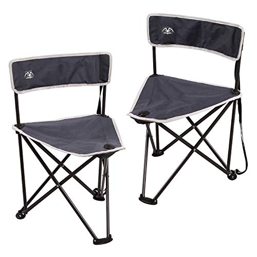 EDCAMP Folding Tripod Chair with Backrest for Camping, Blue, Set of 2