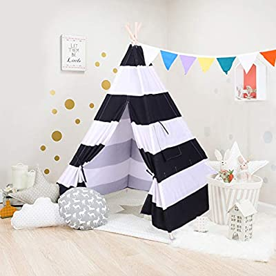 HankRobot Teepee Tent for Kids Indoor Outdoor Tents Boys & Girls Playing Tent Kids Room Teepee Banner DIY Cotton Canvas Tipi Tent Kids Playhouse Supplies (Black White): Toys & Games