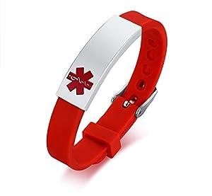 XUANPAI Free Custom Engraving Silicone Medical Alert ID Bracelet Women Men Kids Adjustable Buckle,Red