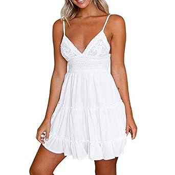 28dfac8d5ed9 XUBA Women Sexy Bow Backless Dress Summer Beach Sundress V Neck Yoke Frill  Trim White Lace
