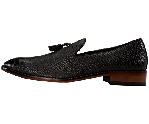Pantofole Da Smoking In Vernice Bicolore Da Uomo Amali Con Stampa Bicolore, Slip On Nightclub Dress Shoes, Stile Sammy Nero