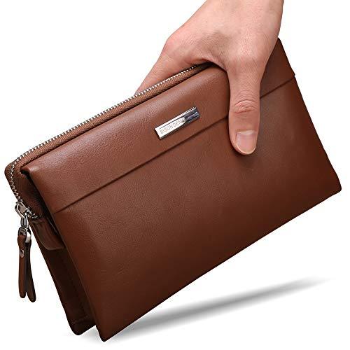 BISON DENIM Mens Clutch Wallet Genuine Leather Clutch Handbag Credit Card Organizer Long Wallet Checkbook Wallet