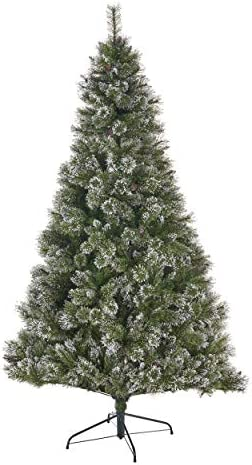 4.5-foot Cashmere Pine and Mixed Needles Unlit Hinged Artificial Christmas TreeSnow and Glitter Branches and Frosted Pinecones