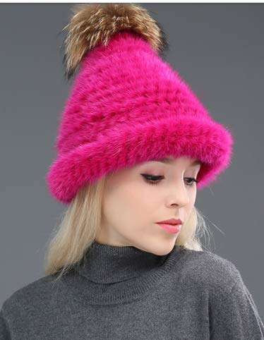 MH Bailment Luxurious Real Mink Fur Warm Knitted Pom Pom Hat Fox Hair Ball Christmas hat Wine red