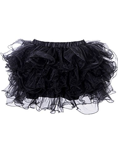 Yummy Bee Womens Frilly Tulle Tutu Skirt Burlesque Ra Ra Costume Plus Size Black, 6 - 8 (Classic Burlesque Costumes)