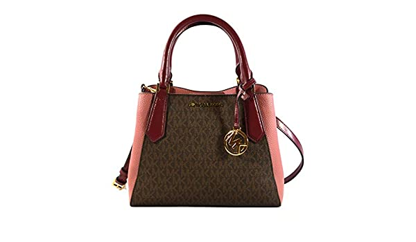 8ffdf6291811a8 MICHAEL Michael Kors Kimberly Small Satchel MK Signature Crossbody Bag -  Brown/Mulberry: Amazon.ca: Shoes & Handbags