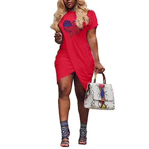 - Pukemark Women's Plus Size Summer Casual Sundress, Lady Sexy Irregular Love Heart Dress Print Short Sleeve Split Mini Dress Red