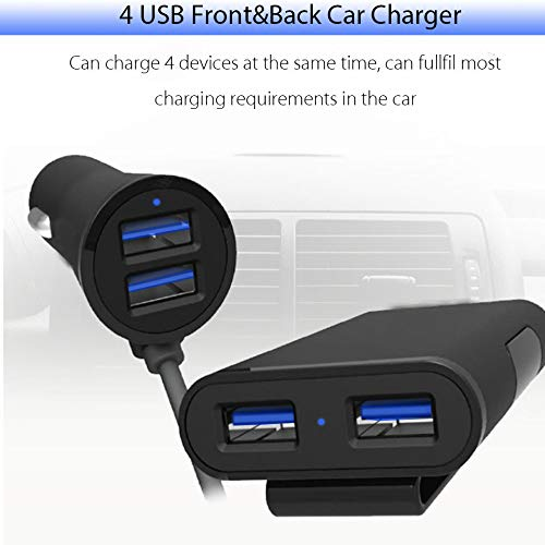 TianJunCheng 8A QC3.0 Android and Other USB Devices 4 Hole Speed Front and Rear car Charge iPhone 6 ft//1.8 m Cable Compatible with Samsung Black TJC Car Charger Quick Charge 3.0