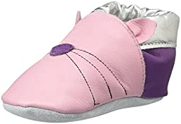 ShooShoos Girls Kitty Soft Sole Baby Shoe (Infant/Toddler), Pink/Silver, Medium (3-4 M US Infant)