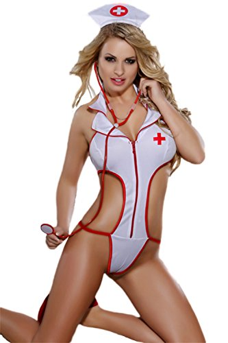 O'Mango Sexy White/Red Polyester 3-Piece Nurse Uniform Costume, String Thong Outfit, Stethescope, Nurse Headpiece (L/XL)