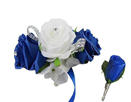 2pc Set - Royal Blue and White Wrist Corsage with Boutonniere Set (White Corsage)