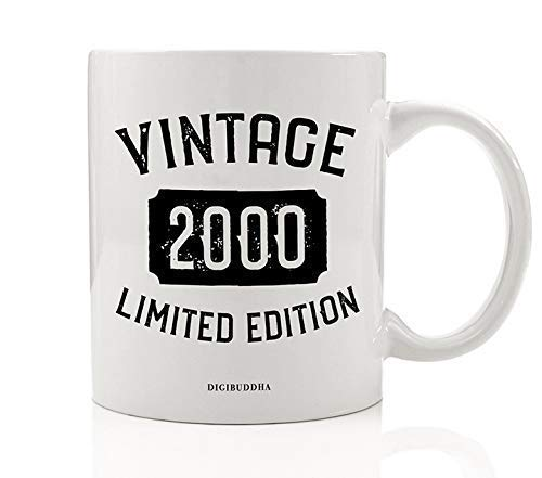 2000 Ceramic Mug - 2000 Coffee Mug Born In the Birth Year Vintage Limited Edition Birthday Gift Idea Aged To Perfection Boyfriend Girlfriend Parent Present to Son Daughter Family 11oz Ceramic Tea Cup Digibuddha DM0754