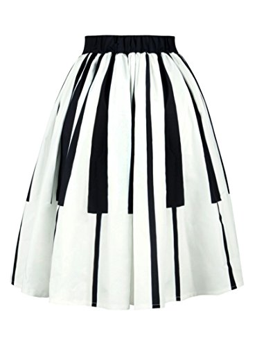 Alaroo Women's 3D Piano Printed Pleated Sweet Midi Skirt M