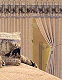 4 Piece Hot Brown / Black Animal Bear Print Flocking Curtain set with attached Valance and Sheers