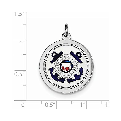 Solid .925 Sterling Silver Rhod-plated US Coast Guard - Coast Disc Us Guard