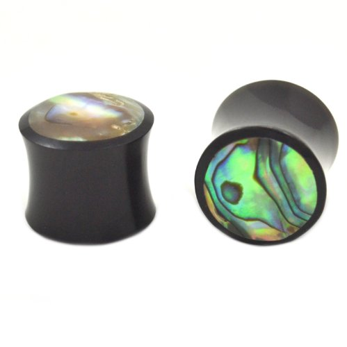 Pair (2) Organic Horn Abalone Shell Inlay Ear Plugs Black Saddle Gauges - 0G 8MM (Horn Saddle Ear Plug)