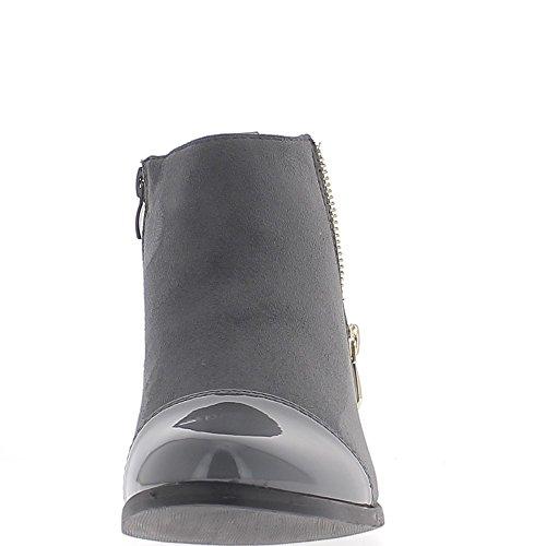 Gris botas bajo tacón 3cm ante y charol look