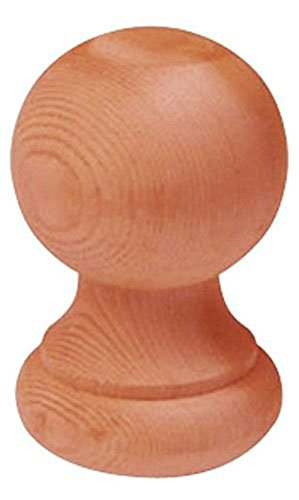 Woodway Finial Post Cap Decorative Redwood Wood Ball for Fence Posts, Deck, and Patio Railings, 3 ⅛ Inch Diameter, 1PC ()