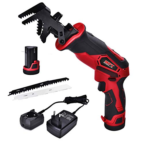 MPT 12V Cordless Reciprocating Saw with 2000Mah Li-ion Battery and Fast Charger,Clamping Jaws Variable Speed and Two Saw Blades UMCRS1230